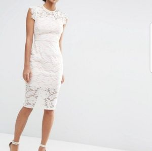 Asos cream lace pencil dress with contrast lining